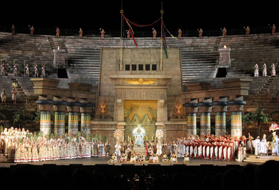 Stage set for the opera Aida performed inside the Arena of Verona.