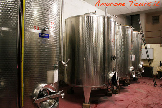Amarone fermentation vats.