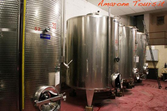 Amarone fermentation vats.