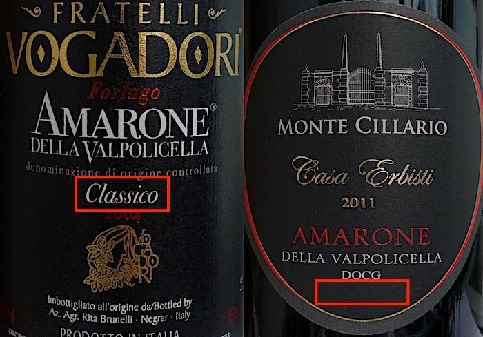 Amarone Classico and non-Classico labels