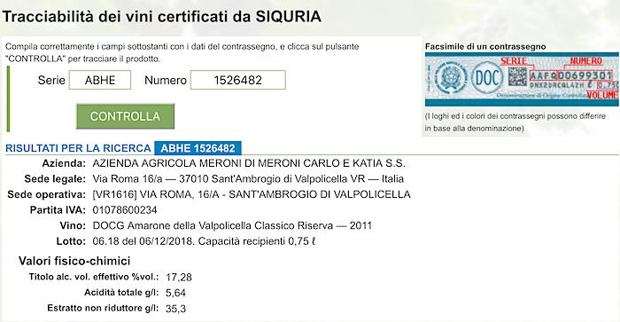 Amarone anti-fraud tracking system.
