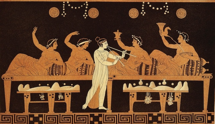 Scene of symposium from an ancient greek vase.