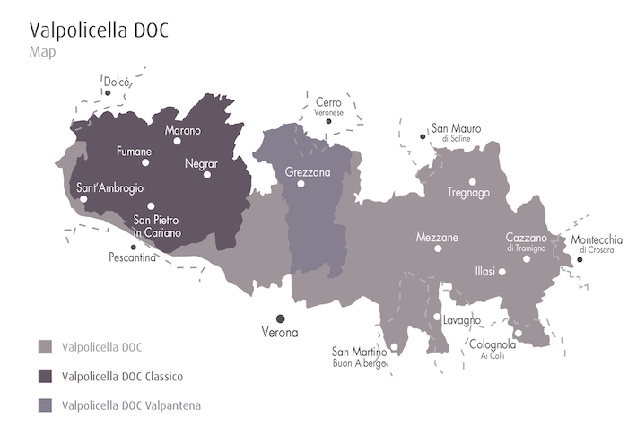 Valpolicella wine producing areas map