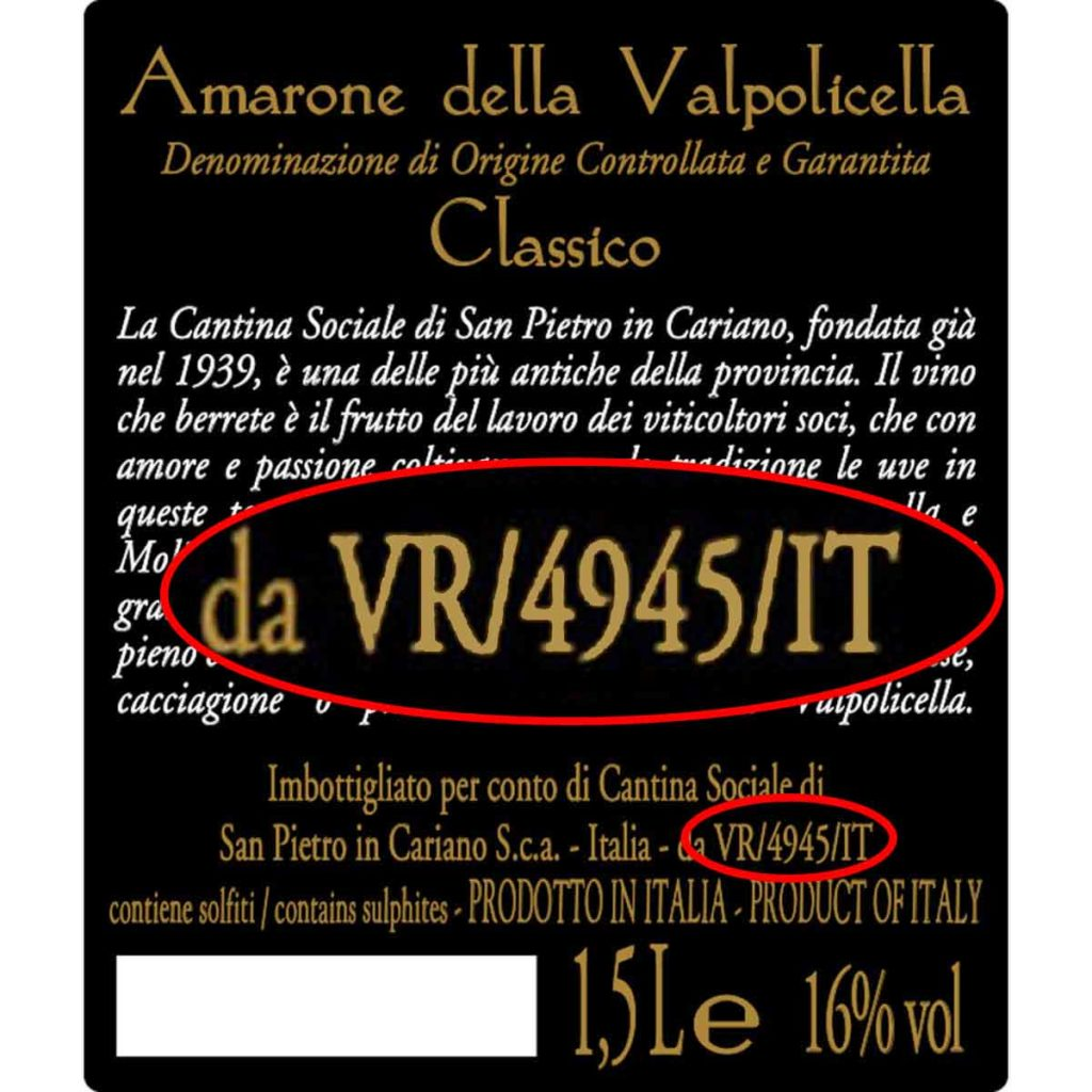 amarone back label