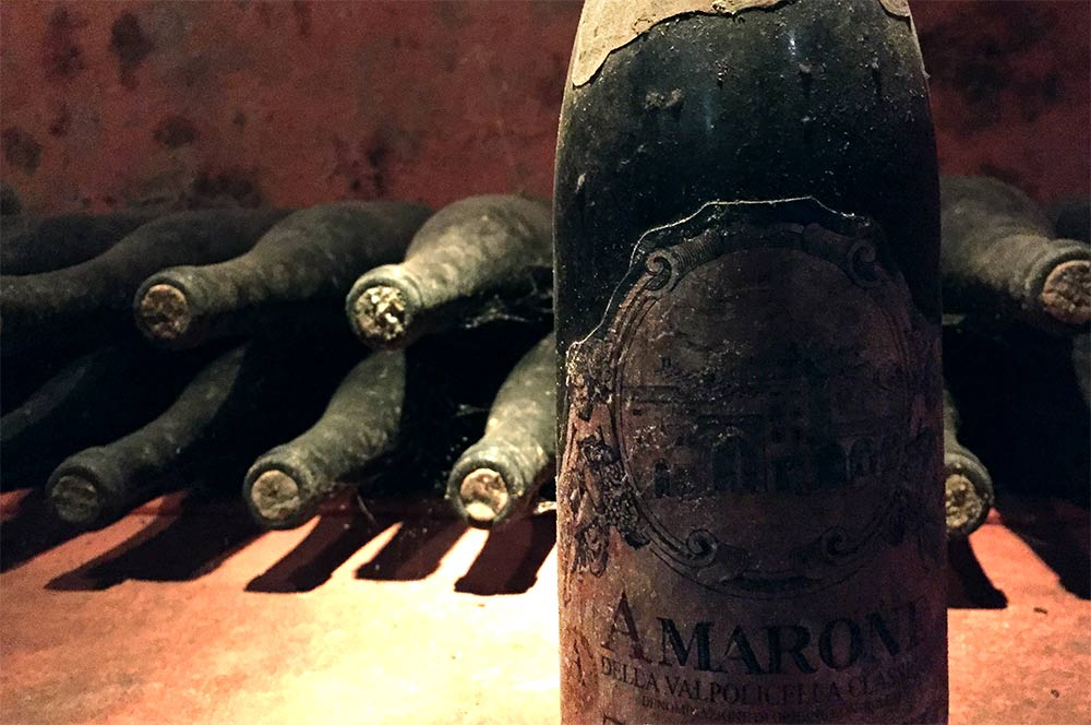 old bottles of Amarone wine