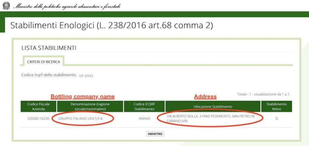 amarone bottling company information